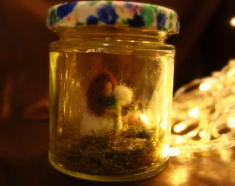 Needle Felted - Flower Fairy in Jar