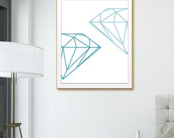Printable Art Diamond, Gem Print, Diamond Print, Diamond Art Home Decor. Blue Geometric Art, Geometric Diamond, Blue Geo Gem Diamond Art.