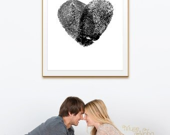 Black and White Fingerprint Poster, Black Wedding Heart Print, Black Thumb Prints, Couples Prints, Personalized Gift Print, Love Prints Art