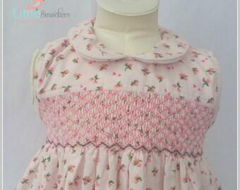 Beautiful hand smocked floral pinwale corduroy dress - Size 2