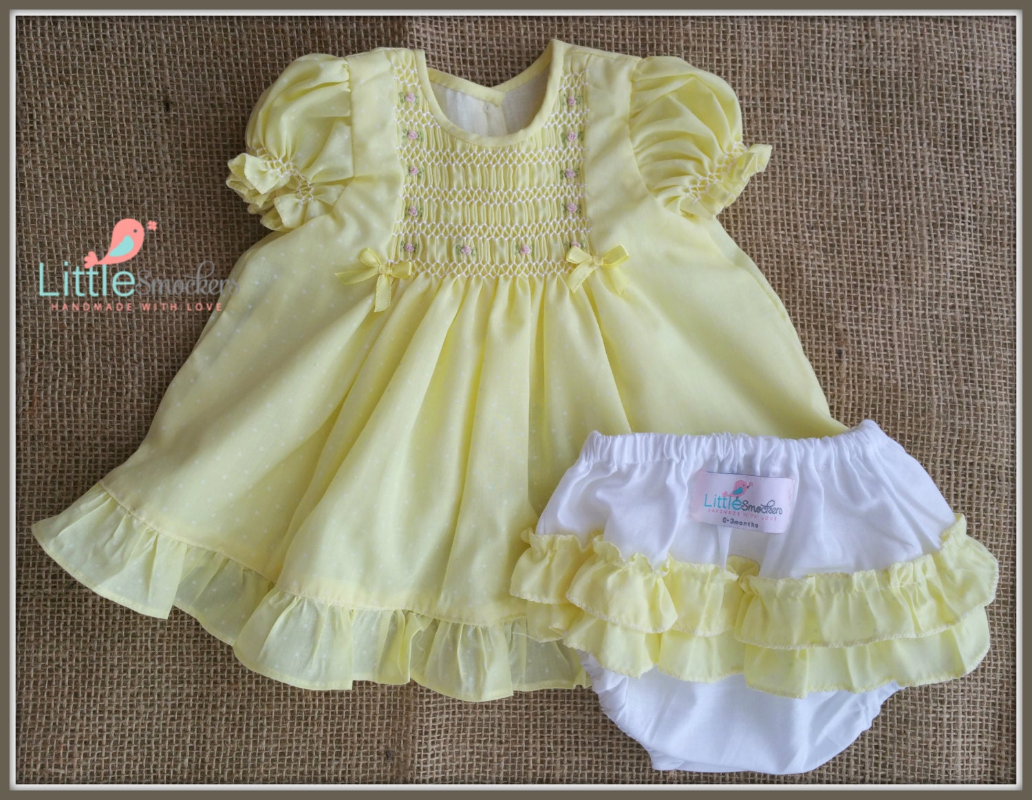 Gorgeous hand smocked and embroidered newborn baby dress