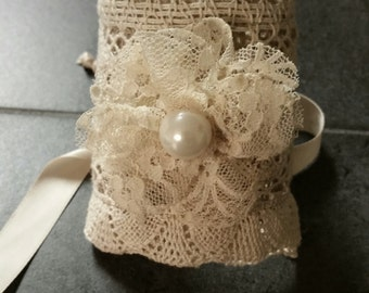 Crotchet lace boho bridal bracelet
