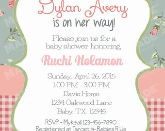 Personalized Vintage Floral #9 Baby Shower Invite, Girl Baby Shower, Boy Baby Shower, Party, Printable file or Printed