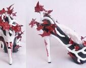 Women Weeping Heart Tree Custom Hand Sculpt Paint Tree Branch Leaves Red Black Shoe Heel Size 3 4 5 6 7 8  High Heels Platform Kraken UK
