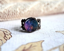 Purple Orion nebula, space nebula galaxy adjustable ring, antique silver or antique bronze. Choose your finish