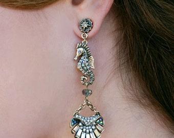 Seahorse Earrings, Mermaid Earrings, Mermaid Costume, Seahorse Jewelry, Sea Shell Jewelry, Beach Jewelry, Nautical Earrings, Seahorse E979