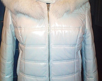 Pearl Fox - women's leather & fur jacket with hood (Free shipping)