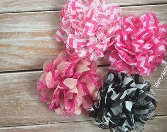 "4 Chevron Lace Flowers - 3.75"" Flower Head - Hair Accessory Supplies - DIY - Create Your Own"