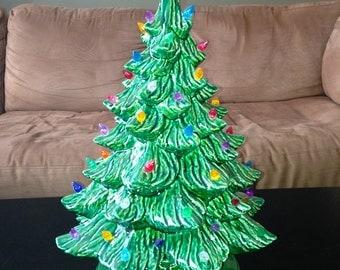 Large Ceramic Christmas Tree -- Ceramic Christmas Tree with Lights