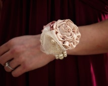 Fabric Wedding Corsage | Mother of the Bride Corsage | Fabric Wrist Corsage | Shabby Chic Corsage | Rustic Wrist Corsage | Prom Corsage