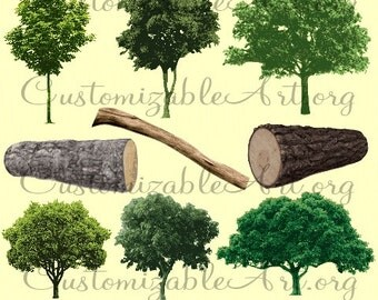 Tree Clipart Digital Tree Clip Art Digital Log Maple Tree Images Branch Realistic Plant Clipart Woods Clipart Tree Log Digital Graphics