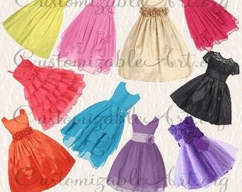 Girls Dress Clipart Digital Dress Clip Art Flower Girl Dresses Clip Art Formal Prom Dress Pink Fashion Clipart Cute Dresses Image Graphic