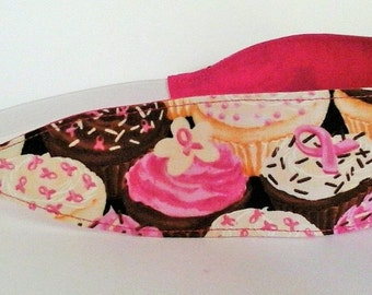 Women's Breast Cancer Cupcakes Pink Cotton Fabric Headband
