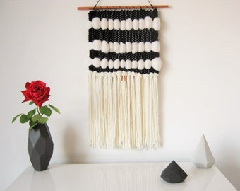 Wall Hanging, Modern handwoven tapestry in black & white cream/ Weaving/Woven WALLHANGING/Fiber Art/Textile Wall Art/Home decor/tapestries