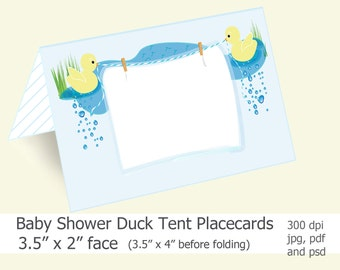 Duck Place Cards, Digital Download, Baby Shower, Printable, Favor Tags