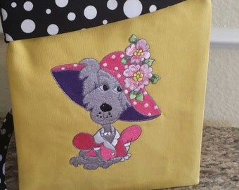 Dawgy Bags-Fushia n' Dark Purple on Mustard n Black Polka Dot (Tablet not included)