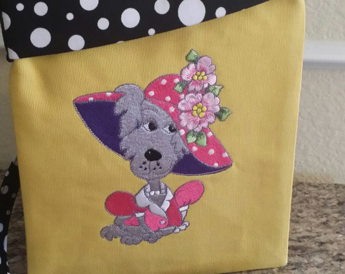 Dawgy Bags-Fushia n' Dark Purple on Mustard n Black Polka Dot (Tablet not included)