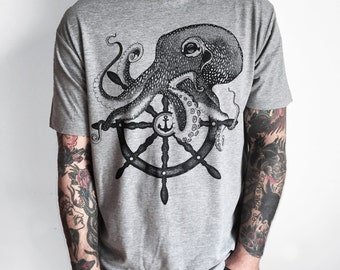 OCTOPUS shirt, mens t-shirt, steampunk clothing, boyfriend t-shirt, kraken shirt, sailor t-shirt, tattoo shirt, pirate shirt, vegan clothing