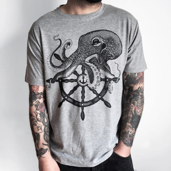 octopus shirt mens t shirt steampunk clothing boyfriend. Black Bedroom Furniture Sets. Home Design Ideas