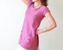 Pink Linen Tunic with two Pockets on Front side, a Round Neck and Short Sleeves, knitted from Eco-Friendly Yarn