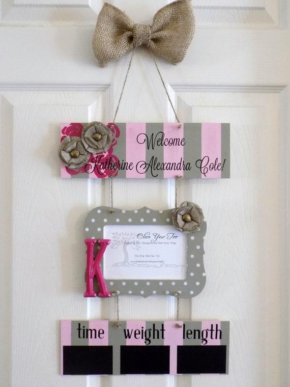 Hospital door hanger welcome baby girl raspberry by for Baby girl hospital door decoration