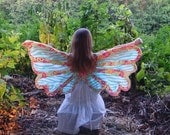 Small Fairy Wings or Butterfly Wings Girls Cape Mint Zebra with Coral Flowers READY TO SHIP