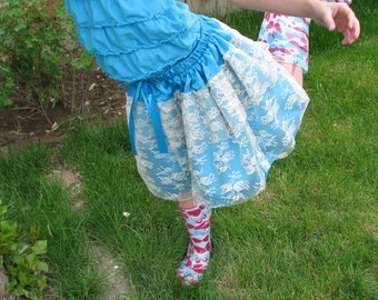 Satin and Lace Ruffled Little Girls Skirt