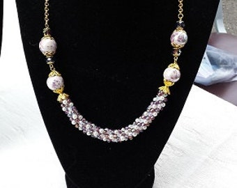 Lavender Rose Beaded Kumihimo Focal Necklace