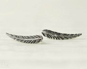 Sterling Silver Ear Cuff Feather Ear Climber Pin Earrings Boho Jewelry - FES018 T1