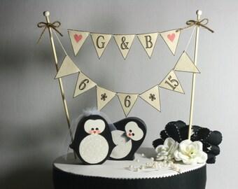 COMBO Penguins Wedding Cake Topper Plus BANNER