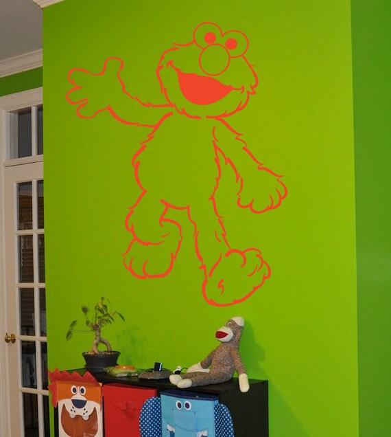 Elmo sticker elmo decal elmo wall art by beacreativedesigner for Elmo wall mural
