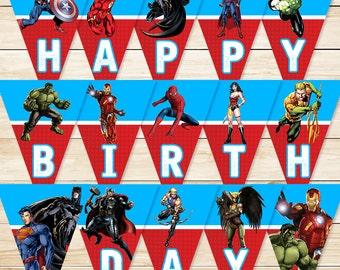 Printable Superhero Banner Blue/Red // Superhero Banner / Super Hero Birthday Banner / Superhero Party / Superhero Party Favors