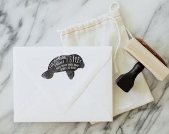 Custom Wood Return Address Stamp - Nautical Stamp - Personalized - Housewarming - Wedding Invites - Stationery - Florida - Gift - MANATEE