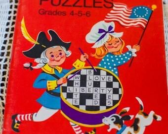 Vintage 1970s America Celebrates Crossword Puzzles Patriotic decor