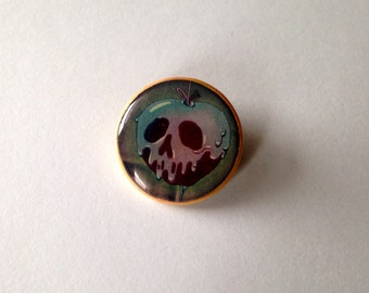 snow white poison apple pinback button pin brooch
