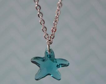 Swarovski Starfish Necklace. Silver Plated Chain.