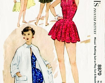 1950s 50s vintage swimsuit sewing pattern one piece halter playsuit bathing suit beach romper swimwear  bust 34 b34