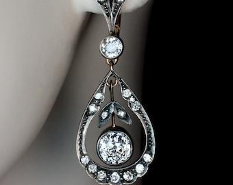 Antique Drop Shaped Openwork Dangle Earrings