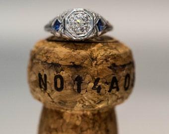 Beautiful Antique Art Deco 18k White Gold Diamond & Synthetic Sapphire Ring #ATL 159