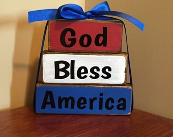 GOD BLESS AMERICA home decor wood stacker blocks americana patriotic sign