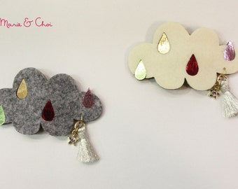Raincloud felt hair clip