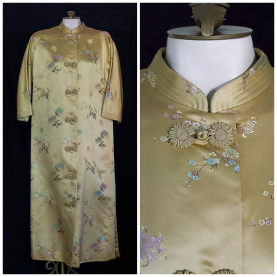 1950s Gold Silk Satin Embroidered Chinese Robe