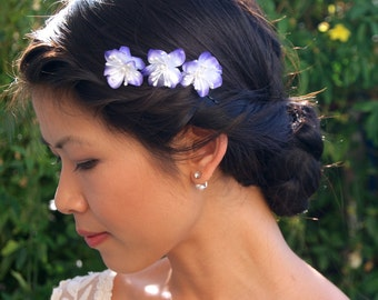 Flower Hair Pins, Purple Flower Bobby Pins, Bridal Hair Accessories, Wedding Hair Flowers, Bridesmaid Accessories, Floral Hairpieces