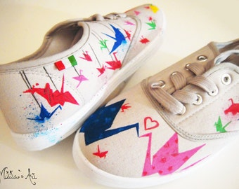 Japanese hand painted shoes / Origami shoes / Special Price: ONLY SIZE  39 EU