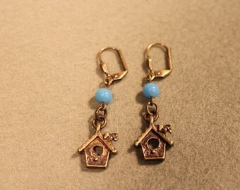 Bird House Earrings With Turquoise Vintage Glass