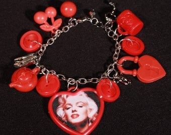 Marilyn Monroe Charm Bracelet in Red and Silvertone