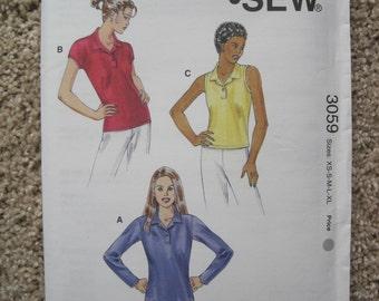 UNCUT Misses Tops - Size XS to XL - Kwik Sew Pattern 3059