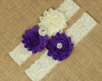 Bridal Garter Set, Wedding Garter Set, Bridal Garter Set, Wedding Garters, Purple Wedding Garter, Purple Garter, Ivory Lace Garter, SCI1-P06