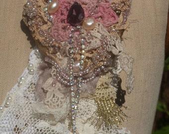 """Pin or hair accessory """"Romantic Woman"""", rhinestones, culture, crystal, antique lace, embroidery, Czech beads, BoutonRose, Rose Bud, old rose"""