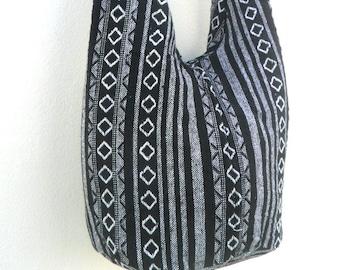 Shoulder Bag Crossbody Nepal Bag Sling Bag Hippie Hobo Bag Boho Bohemian Handmade bag Purse Cross Body Thai bag / Gift Black White Color